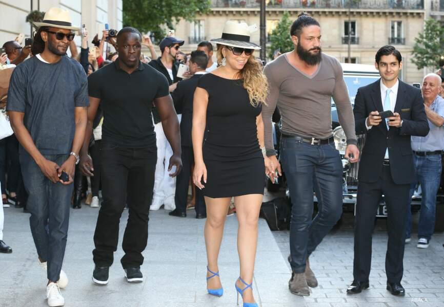 Mariah Carey à son arrivée à l'hôtel Peninsula à Paris