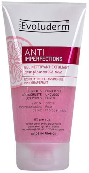 Gel nettoyant exfoliant anti-imperfections, Evoluderm, 4 €