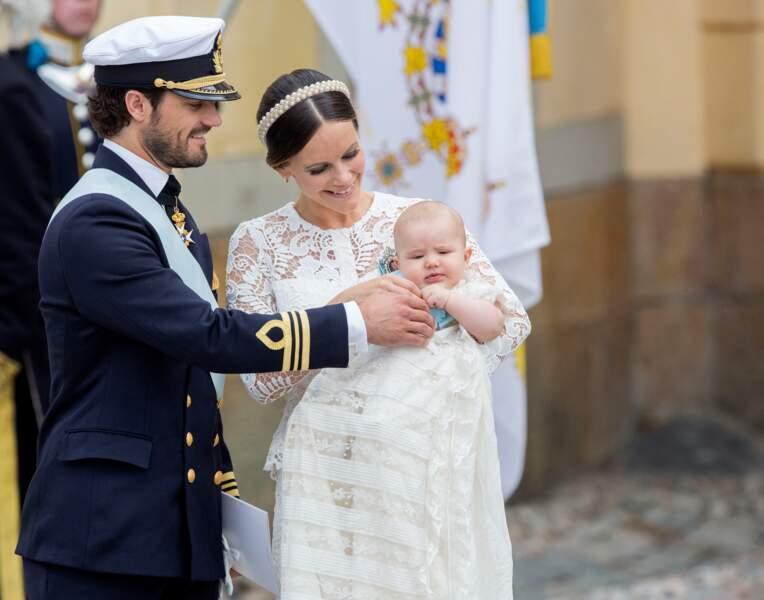 Carl Philip et Sofia de Suède au baptême de leur fils Alexander, le 9 septembre 2016 au palais Drottningholm