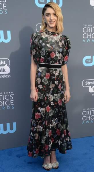 """Natalia Dyer, star de la série """"Stranger Things"""", aux Critics Choice Awards le 11 janvier 2018 à Los Angeles"""