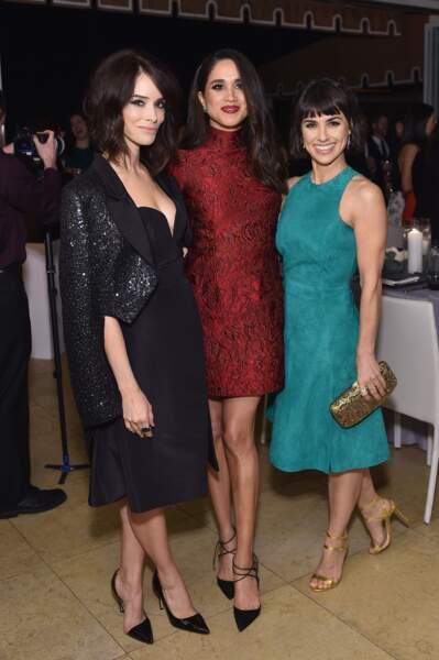 """Abigail Spencer, Meghan Markle et Constance Zimmer lors du dîner """"Women in Television"""" à Hollywood en 2016"""