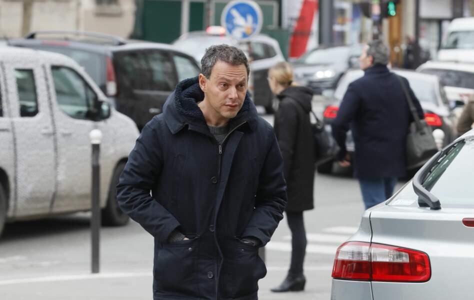Marc-Olivier Fogiel, triste aux obsèques de Henry Chapier en l'église Notre-Dame des Champs le 4 février 2019