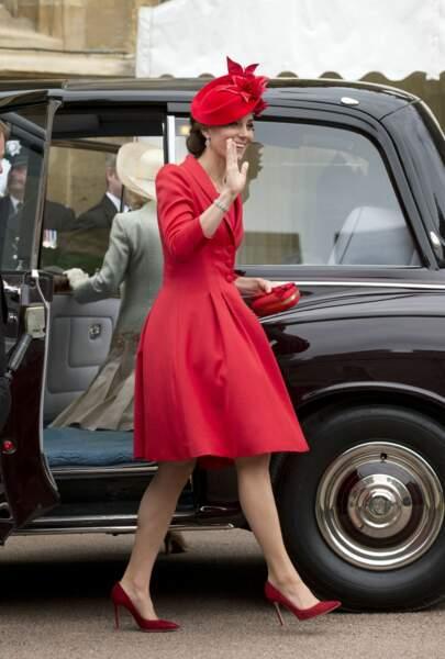 """Kate Middleton en escarpins Gianvito Rossi, à la cérémonie """"Order of the Garter"""" à Windsor, le 13 juin 2016"""
