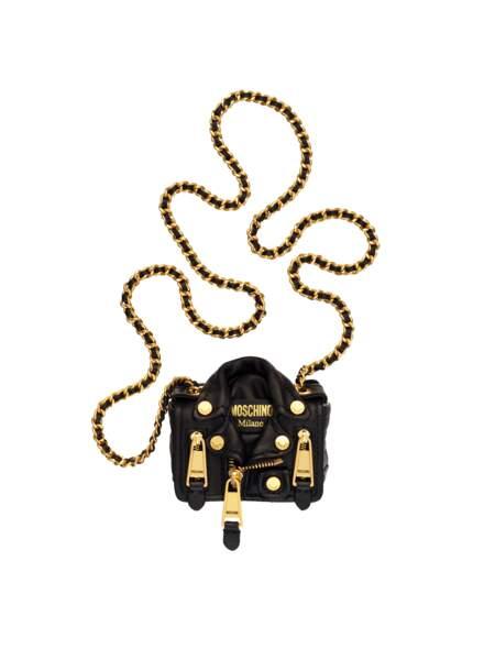 Perfecto, besace en forme de perfecto en cuir, 129 € (Moschino [tv] H&M).