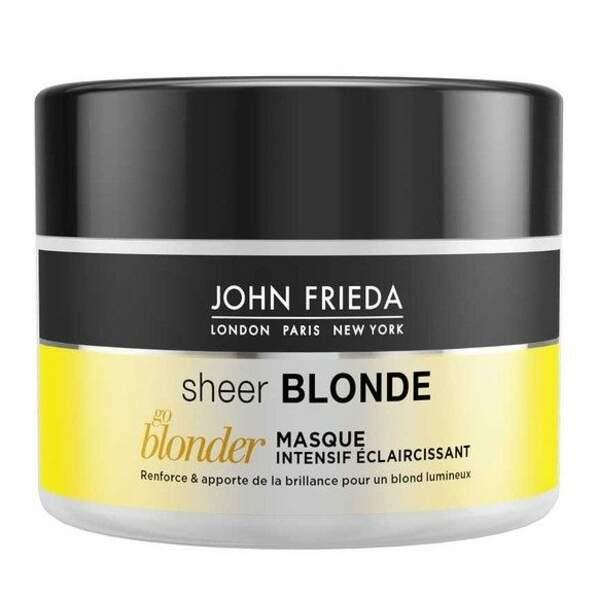Pour un blond éclatant: Masque Intensif Éclaircissant Go Blonder, John Frieda 9,60€ (chez Monoprix)