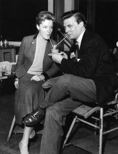 Romy Schneider et le comédien Karlheinz Böhm en 1957