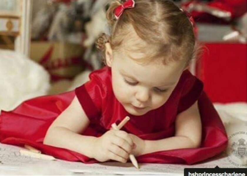 Le premier dessin au Père Noël de la princesse Gabriella