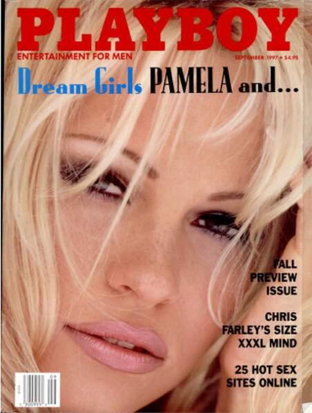 Gros plan sur le visage de Pamela Anderson en 1997