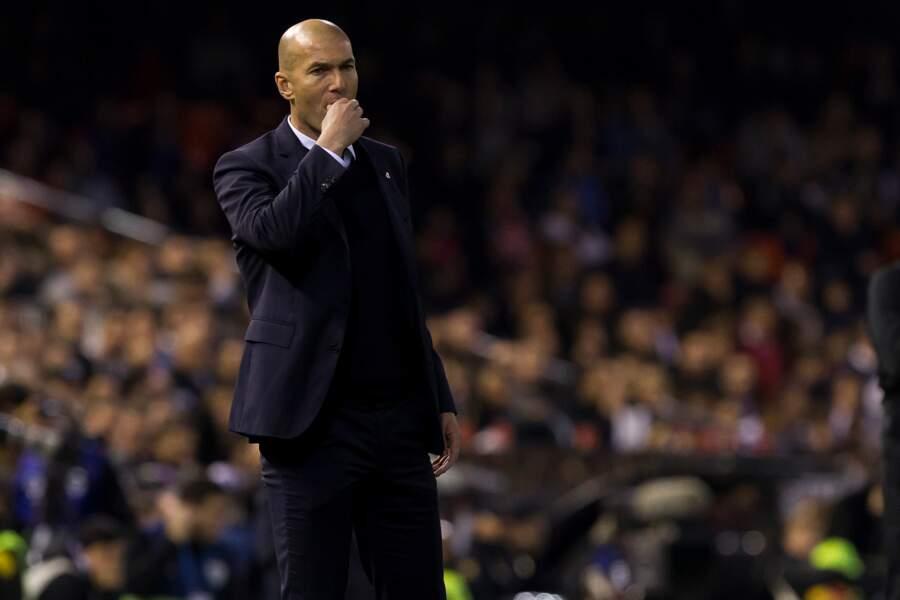 Zinédine Zidane lors d'un match entre le Real de Madrid et le FC Valence à Valence le 22 février 2017