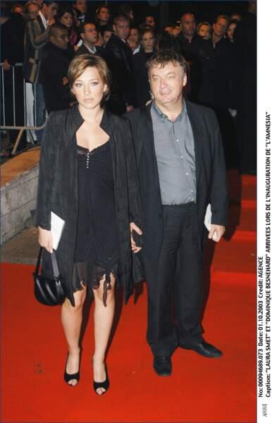 Laura Smet et son parrain Dominique Besnehard, à l'inauguration de L'Amnesia à Paris en 2003