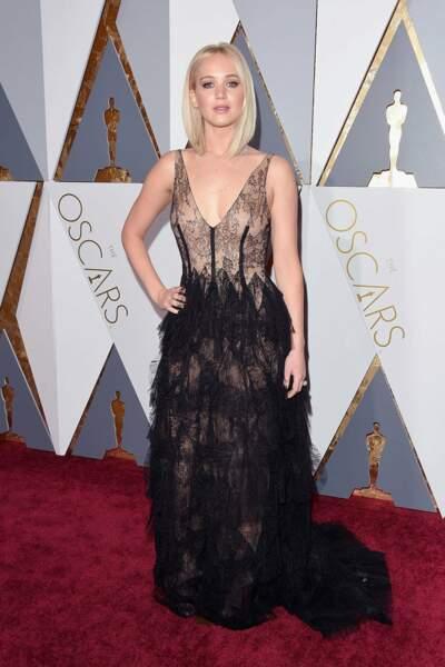 Jennifer Lawrence en Dior Haute Couture et bijoux Chopard