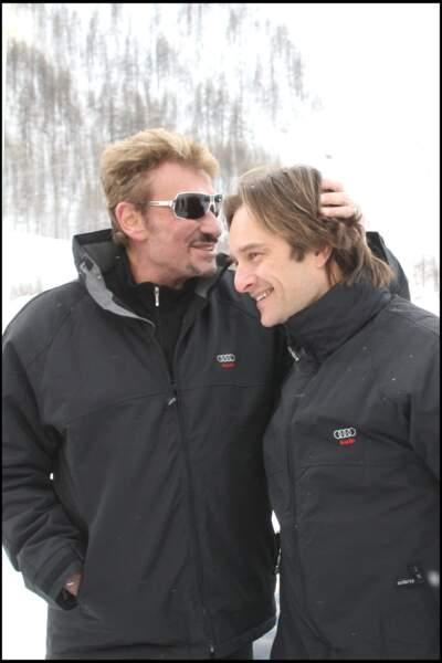 Johnny et David Hallyday à Val d'Isère en 2008