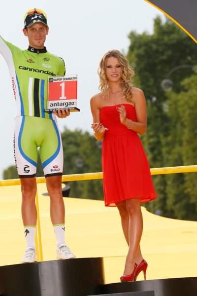 Marion Rousse sur le podium