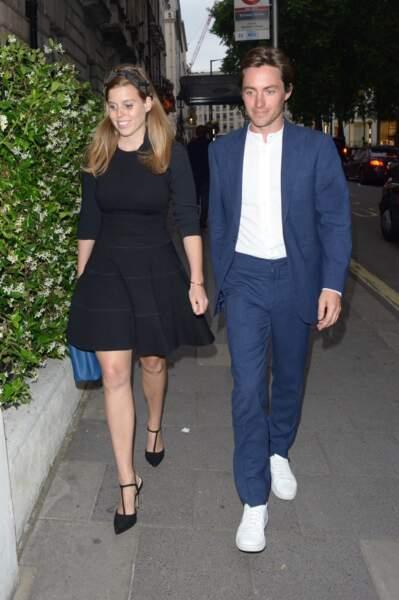 Beatrice d'York et Edoardo Mapelli Mozzi tout sourire à Londres, le 9 juillet