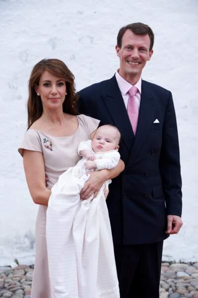 Marie et Joachim de Danemark, lors du baptême de la princesse Athena, le 20 mai 2012 à Mogeltonder