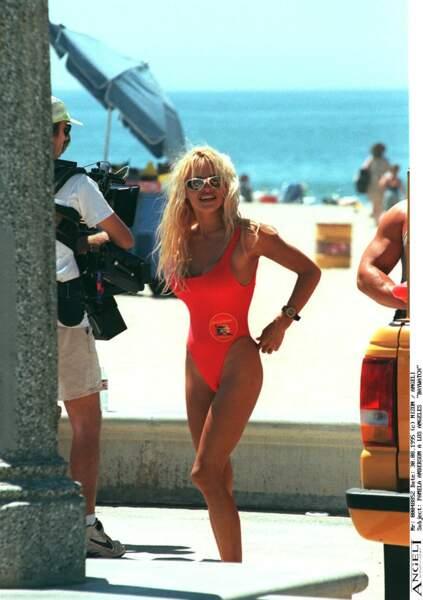 Pamela Anderson sur le tournage d'Alerte à Malibu