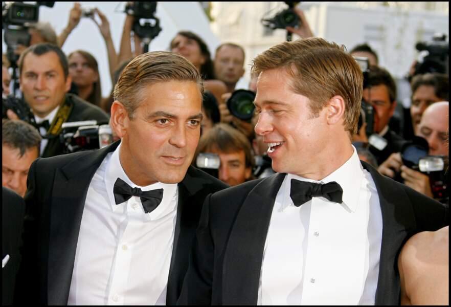 George Clooney et Brad Pitt lors du Festival de Cannes en 2007