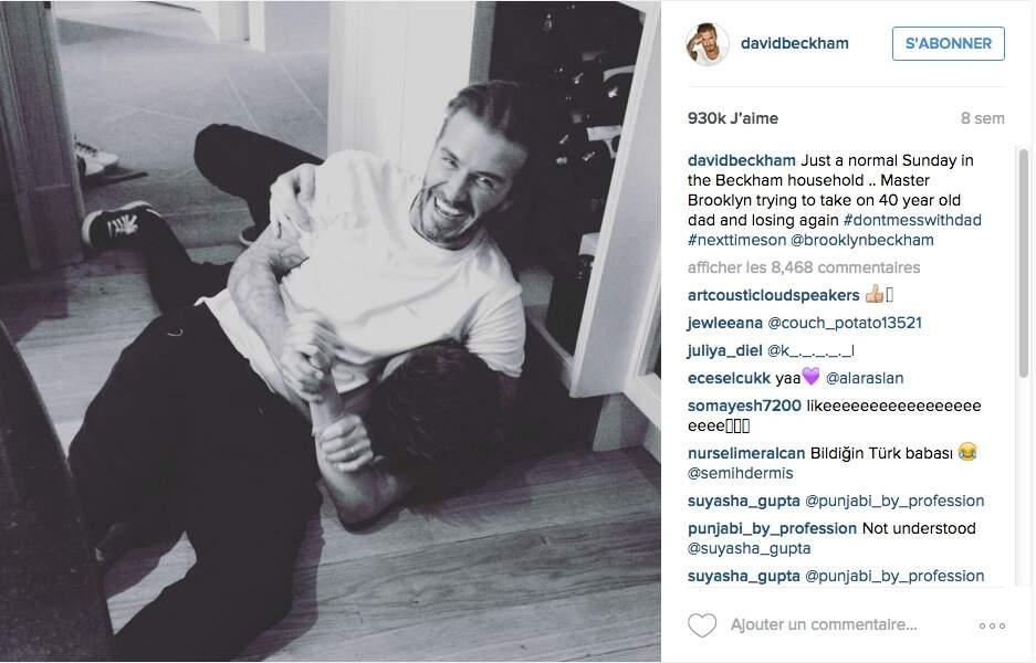 David Beckham se vante d'avoir toujours le dessus sur son fils aîné Brooklyn