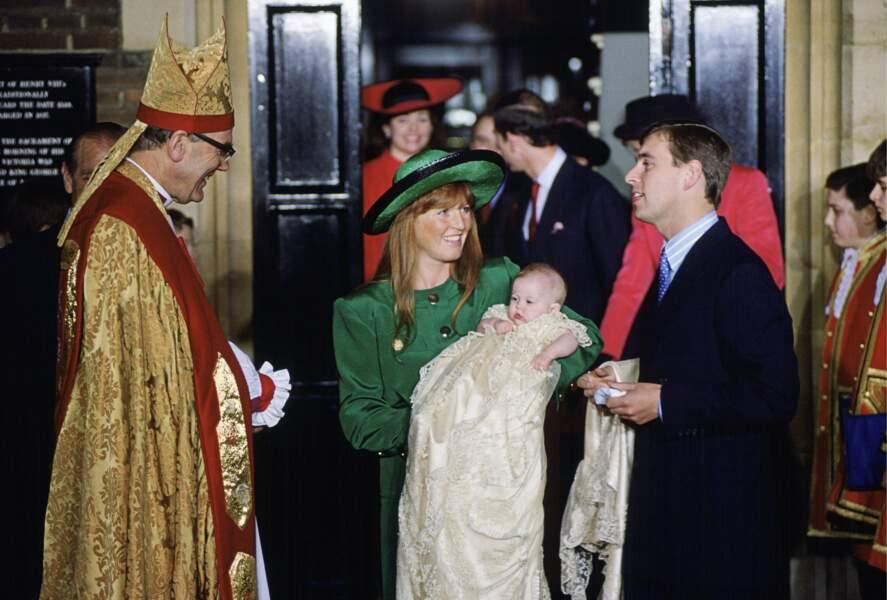 La princesse Béatrice d'York lors de son baptême au palais Saint James de Londres, 20 décembre 1988
