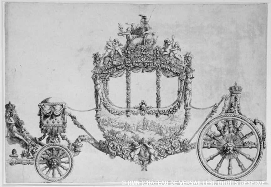 Gravure du carrosse du sacre du roi Louis XVI à Reims, le 2 juin 1775