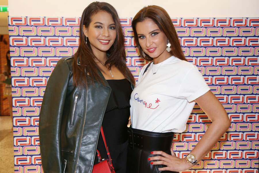 Vaimalama Chaves et Malika Ménard à la présentation Lancel, lors de la Paris Fashion Week, le 27 février 2019.