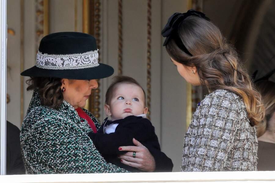 Caroline de Hanovre avec Maximilian et Alexandra lors de la fête nationale à Monaco, le 19 novembre 2018