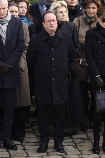 François Hollande lors de l'hommage national à Jean d'Ormesson aux Invalides