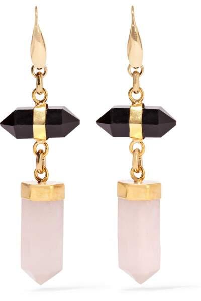 Boucles d'oreilles dorées ornées d'agate et de quartz Santa, Isabel Marant, 250€