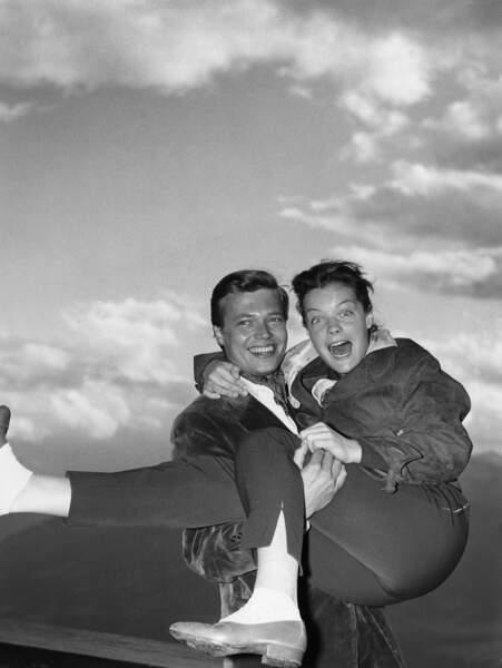 Romy Schneider et le comédien Karlheinz Böhm en 1956
