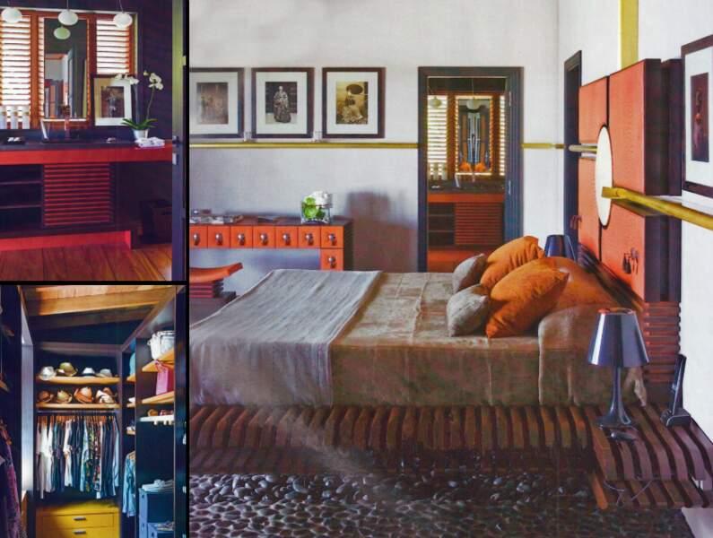 Chambre de Johnny et Laeticia Hallyday dans leur maison de Saint Barthélémy