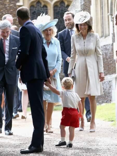Carole Middleton lors du baptême de la princesse Charlotte de Cambridge à Sandringham, le 5 juillet 2015