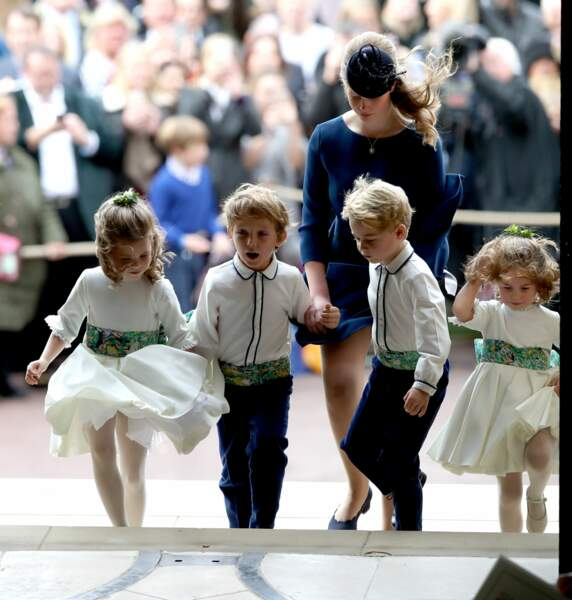 Lady Louise Mountbatten-Windsor, George et Charlotte de Cambridge à Windsor le le 12 octobre 2018