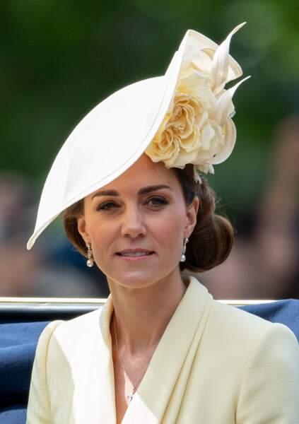 Kate Middleton adopte un maquillage sophistiqué le 8 juin 2019 pour Trooping the Colour