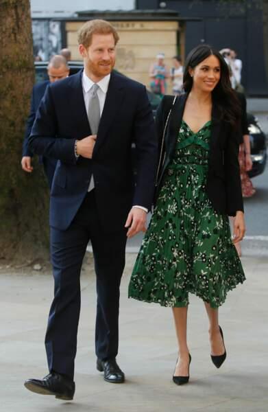 Harry et Meghan lors d'une réception à l'ambassade australienne à Londres le 21 avril 2018