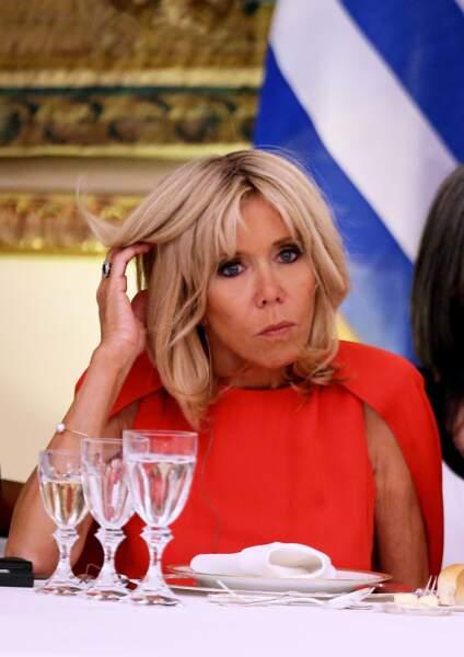 La première Dame au dîner d'Etat au palais présidentiel d'Athènes,  le 7 septembre 2017