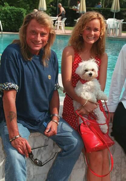 Johnny et Laeticia Hallyday à l'hôtel Majestic à Cannes en mai 1996.