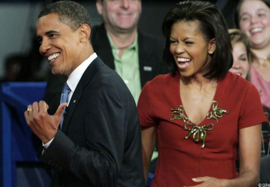 Barack et Michelle rient aux éclats après le débat de Nashville, le 7 octobre 2008