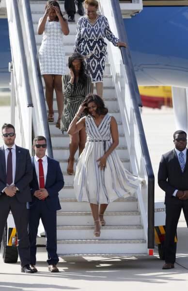 La première dame Michelle Obama arrive en Espagne avec ses filles Malia et Sasha, et sa mère Marian