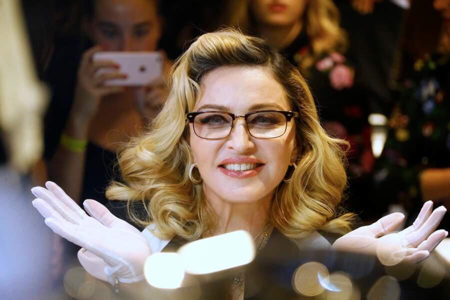 Madonna, lors de la présentation de sa ligne de cosmétique MDNA Skin à New York en 2017