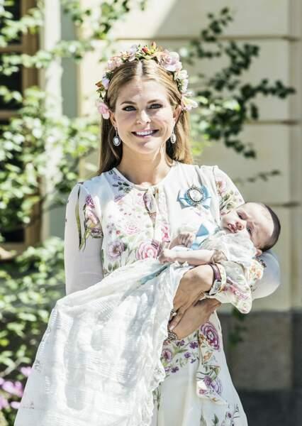 Madeleine de Suède au baptême de sa fille la princesse Adrienne au palais de Drottningholm le 8/06/2018