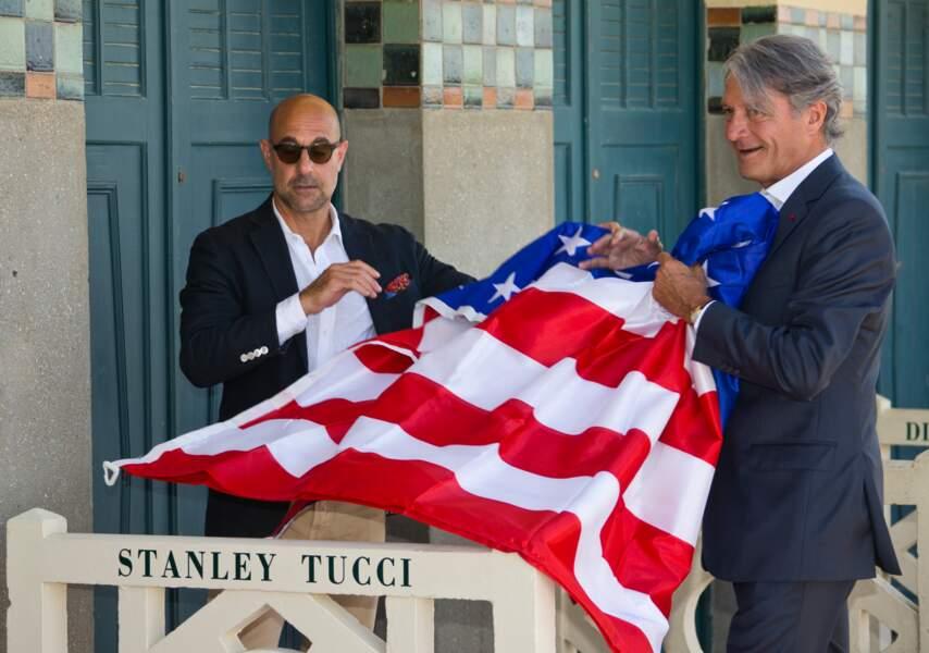 Stanley Tucci et Philippe Augier, maire de Deauville