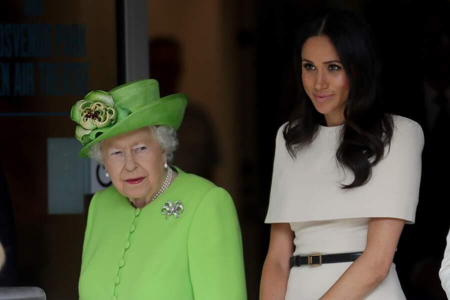 14 juin 2018 : La reine Elisabeth II d'Angleterre et Meghan Markle, duchesse de Sussex en visite à Chester