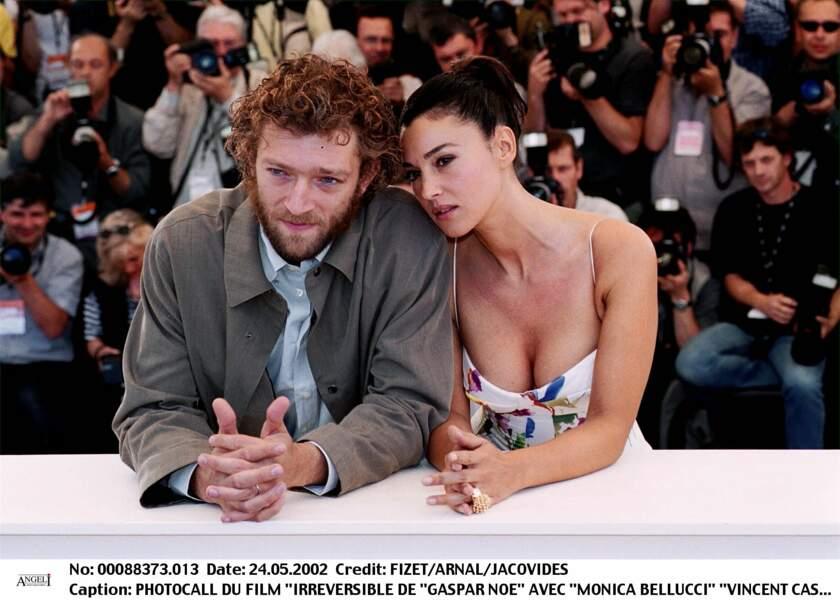 Monica Bellucci et Vincent Cassel à Cannes pour le photocall d'Irréversible en 2002