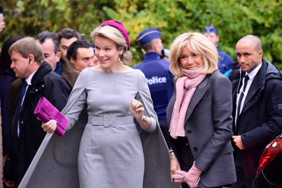 Brigitte en compagnie de la reine Mathilde de Belgique, le 20 novembre 2018