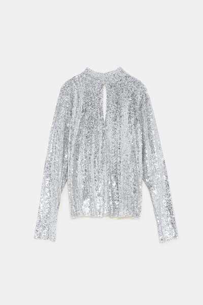 T-shirt à sequins, 30 €, Zara.