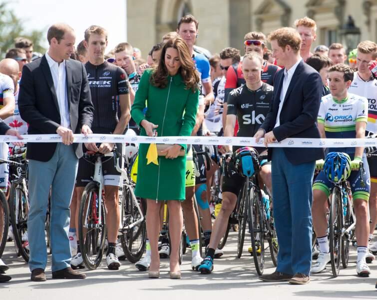 William, Harry et Kate Middleton à l'arrivée de la 1e étape du tour de France à Harrogate le 05 Juillet 2014