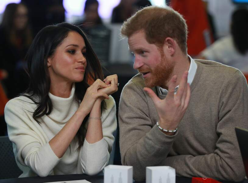 Le prince Harry et Meghan Markle pour la journée internationale de la femme à Millennium Point, le 8 mars 2018.
