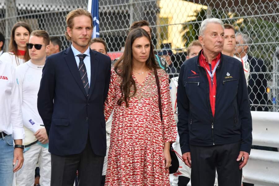 Andrea Casiraghi et sa femme Tatiana, concentrés mais tactiles pendant ce 3ème Monaco E-Prix