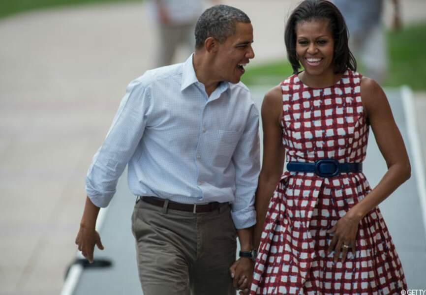 Michelle accompagne Barack dans l'Iowa, Dubuque, pendant sa campagne, le 15 août 2012