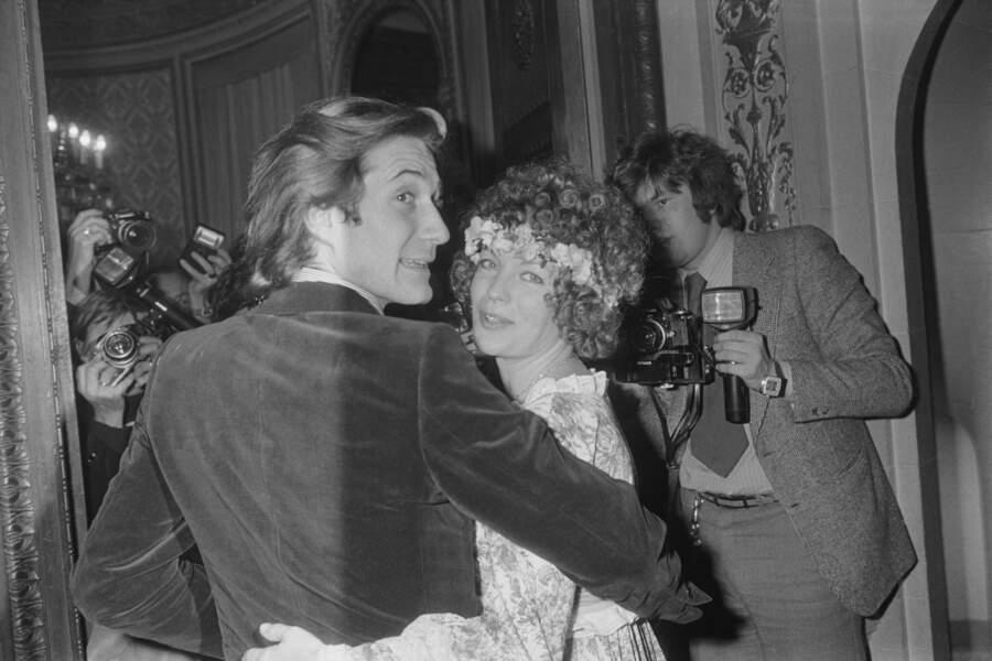 Romy Schneider et Daniel Biasini lors de leur mariage en 1975